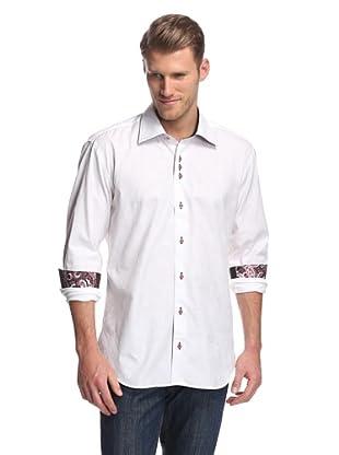 Cafe Bleu Men's Atom Floral Jacquard Sportshirt (White)