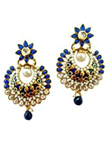 Lalso Royal Designer Blue Kundan AD Zircon Bali Pearl Bridal Earrings For Wedding, Diwali, Festival, Navratri, Party, Gift - LAE55_BL