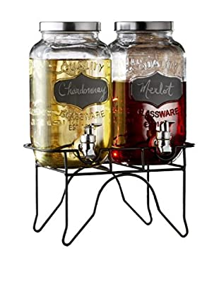 Style Setter Blackboard Glass Beverage Dispenser with a Metal Stand