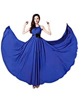 Women's Sleeveless Boho Bohemian Chiffon Summer Beach Long Maxi Dress|M|Blue