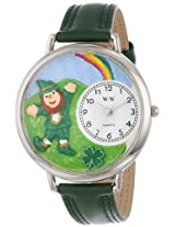 Whimsical Watches Unisex U1224002 St. Patrick's Day Rainbow Hunter Green Leather Watch