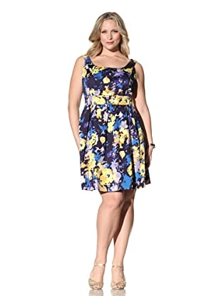Donna Ricco Women's Scoop Neck Dress with Pleated Skirt (Cerulean/Lemon/African Violet)