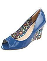 Fascino Women'S Floral Printed Open-Toe Blue Pu Wedges -