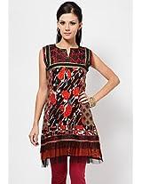 Sleeve Less Embellished Red Kurti