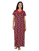 Fasense Exclusive Women Cotton Nightwear Long Nighty, DP159 (Large, Pink Multi)