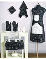 Handmade Cotton Chef's Apron Set with Pot Holder,Oven Mitts & Napkins -Perfect Home Kitchen Gift or Bridal Shower Gift,KS08-2302