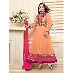 Sangeeta Ghosh Georgette Orange Semi Stitched Anarkali Suit