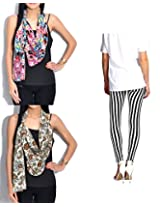 Set of 1 legging & 2 stoles, scarf and dupatta multicolored stole for women