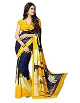 Khushali Presents Printed Georgette Saree(Navy Blue,Multi)