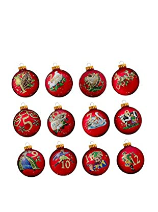 Kurt Adler 12-Piece 12 Days of Christmas Decorative Glass Balls