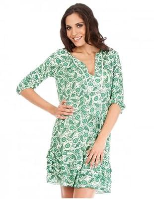 Cortefiel Kleid (Grün/Weiß)