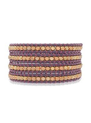 Lucie & Jade Echtleder-Armband Metallbeads violett/gold