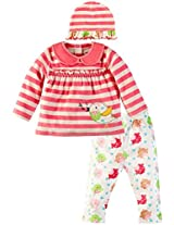 Infant Girls Jabla Dress with Printed Legging and Cap Set, Multi Colour (18-24 Months)