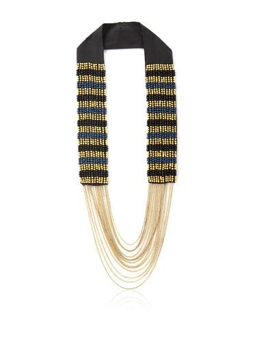 La Croix Rousse Beaded Chain Necklace, Gold/Blue