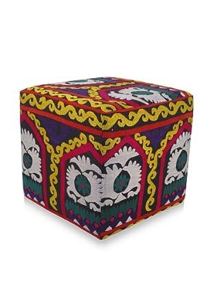 Momeni One-of-a-Kind Hand-Embroidered Suzani Ottoman