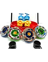 4 BIG Metal Beyblades with LED Lights, 4 Launchers, 1 BIG STADIUM, 2 Spring Action Launchers, Sunshine Exclusive(Colors may vary)