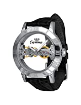 Ciemme Luxury Skeleton Mechanical Movement Manual Winding Black Leather 36 Hour Power Stainless Steel