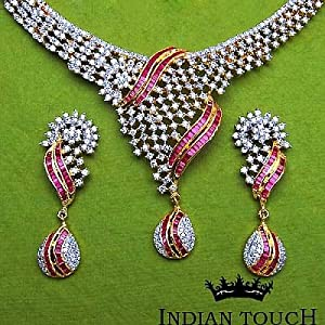 Indian Touch American Diamond Copper Necklace Set
