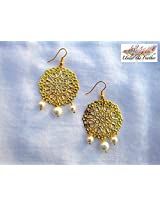 Under the Feather Filigree Earrings with Pearl Drops