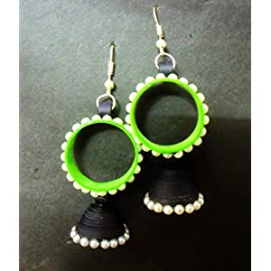 Quillings by SSE - Neon Green And Black Hangings Earring