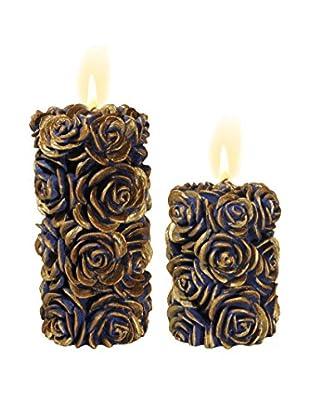 Volcanica Set of 2 Blue & Gold Flora Pillar Candles