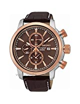 Seiko Barcelona SNAF52P1 Brown Chronograph Watch - For Men