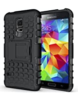 JKase DIABLO Series Tough Rugged Dual Layer Protection Case Cover with Build in Stand for Samsung Galaxy S5 Mini - Black