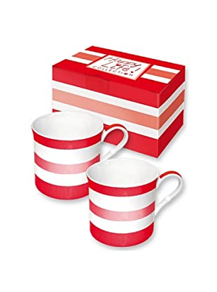 Easy Life Design Set 2 Mug in Porcellana Bone China Happy Stripes (Rosso)