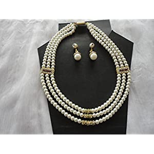 Mona Jewels Three Stringed Pearl Necklace With Earrings