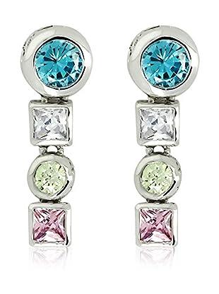 Shiny Cristal Ohrringe  rhodiniertes Silber 925/pink