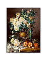 TIA Creation Vase and Flower Canvas 0133 Print on Cotton Canvas 22inch x 31inch