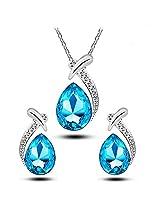Capri Blue Designer Austrian Pendant & Earring Set For Women by ETERNO FASHIONS
