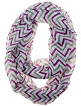 Cotton Cantina Soft Chevron Sheer Infinity Scarf (Purple/Grey/White)
