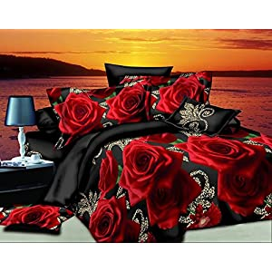 Star Floral-3D Design Printed Double Bedsheet with 2 Pillow Covers