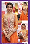 Semi stitched salwar suits - Deepika Padukone orange designer embroidered semi stitched anarkali suit