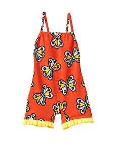 SUBMARINE by Romero Britto Baby 1-Piece Boy Short Butterfly Swimsuit (Orange Butterfly)