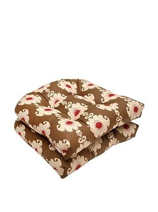 Waverly Sun-n-Shade Set of 2 Rise and Shine Henna Wicker Seat Cushion (Red/Brown/Tan)