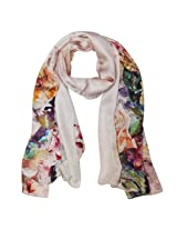 Wrapables Luxurious 100% Charmeuse Silk Floral Painting Long Scarf with Hand Rolled Edges, Roses in Bloom