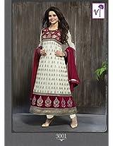 Kashish Red Semi Stiched Designer Anarkali Suit