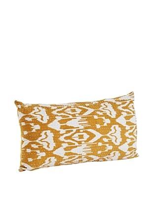 Saro Lifestyle Mustard Ikat Pillow with Kantha Stitches