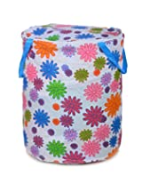 Round White Pink Flowers Print Laundry Bag