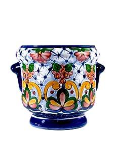 NOVICA Ceramic Flower Pot, Majolica Garden