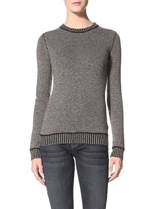 Kokun Women's Double Knit Crew Sweater (Dark Grey/Black)
