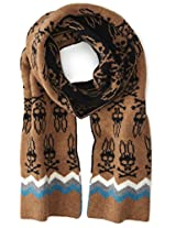 Psycho Bunny Men's Melrose Zig Zag Knitted Scarf, Driftwood/Black, One Size