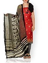 Unnati Silks Women Unstitched wedding red-cream pure Tussar ghicha silk salwar Kameez