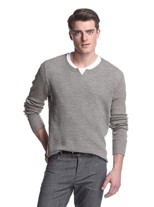 John Varvatos Collection Men's Notched Crewneck Sweater (Sandstone Heather)
