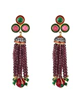 Be You Charismatic Multicolor Diamond Look Rhodium Plated Brass Chandelier Earring for Women