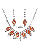 DollsofIndia Dark Saffron and White Stone Studded Necklace with Earrings and Ring - Stone, Bead and Metal - Saffron