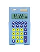 Texet TX-107 Dual Powered 8 Digit Pocket Basic Calculator in Blue & Yellow with Protective Slider Case