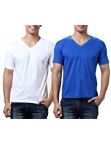 TeeMoods Pack of Two Men's V Neck Tshirts-White n Blue_TM-C-1549WHT-BLU-XL
